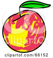 Royalty Free RF Clipart Illustration Of A Sketched Peach