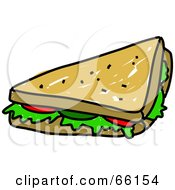 Royalty Free RF Clipart Illustration Of A Sketched Half Veggie Sandwich by Prawny