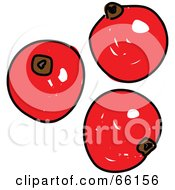 Royalty Free RF Clipart Illustration Of Three Sketched Red Currants
