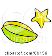 Royalty Free RF Clipart Illustration Of A Sketched Starfruit by Prawny