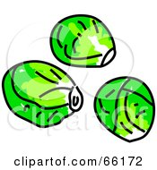 Royalty Free RF Clipart Illustration Of Three Brussels Sprouts
