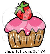 Royalty Free RF Clipart Illustration Of A Sketched Cupcake Version 4