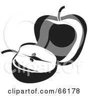 Royalty Free RF Clipart Illustration Of Black And White Whole And Sliced Apples