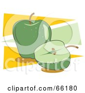 Royalty Free RF Clipart Illustration Of Whole And Halved Green Apples On Yellow And Green by Prawny