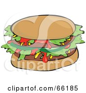 Royalty Free RF Clipart Illustration Of A Sloppy Double Burger With Ketchup by Prawny
