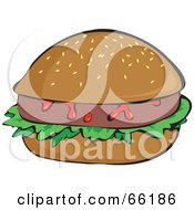 Royalty Free RF Clipart Illustration Of A Hamburger With Sloppy Ketchup