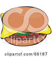 Royalty Free RF Clipart Illustration Of A Sloppy Cheeseburger With Ketchup by Prawny
