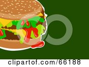 Royalty Free RF Clipart Illustration Of A Messy Hamburger On Green