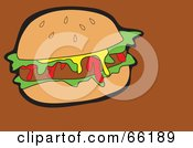 Royalty Free RF Clipart Illustration Of A Messy Hamburger On Brown