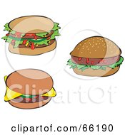 Royalty Free RF Clipart Illustration Of A Digital Collage Of Three Sloppy Double And Single Hamburgers