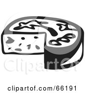 Royalty Free RF Clipart Illustration Of A Black And White Rounded Cheese With A Missing Wedge