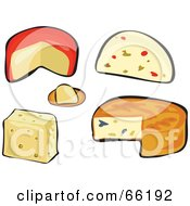 Royalty Free RF Clipart Illustration Of A Digital Collage Of Different Cheese Types