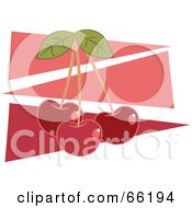 Royalty Free RF Clipart Illustration Of Three Red Cherries Over Pink Triangles by Prawny