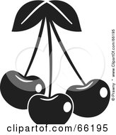Royalty Free RF Clipart Illustration Of Three Black And White Shiny Cherries
