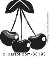 Royalty Free RF Clipart Illustration Of Three Black And White Shiny Cherries by Prawny