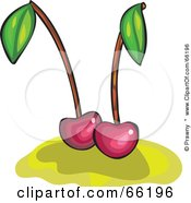 Royalty Free RF Clipart Illustration Of Two Dark Cherries On Yellow