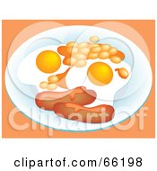 Royalty Free RF Clipart Illustration Of A Breakfast Plate Served With Sausage Links And Fried Eggs