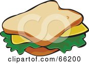 Royalty Free RF Clipart Illustration Of A Cheese Sandwich On White Bread by Prawny