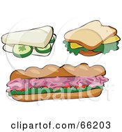Royalty Free RF Clipart Illustration Of A Digital Collage Of Cucumber Cheese And Ham Sandwiches by Prawny