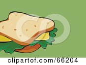Royalty Free RF Clipart Illustration Of A Cheese Sandwich On White Bread On Green by Prawny