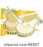 Royalty Free RF Clipart Illustration Of Whole And Halved Pears On Orange Triangles by Prawny