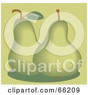 Royalty Free RF Clipart Illustration Of Two Green Pears On Green