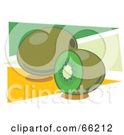 Royalty Free RF Clipart Illustration Of Whole And Halved Kiwi Fruits On Green And Orange Triangles