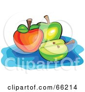 Royalty Free RF Clipart Illustration Of Whole And Halved Green And Red Apples On Blue