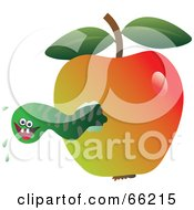 Royalty Free RF Clipart Illustration Of A Green Maggot Eating Through An Apple by Prawny