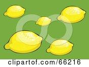 Royalty Free RF Clipart Illustration Of Fresh Yellow Lemons On Green by Prawny