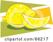 Royalty Free RF Clipart Illustration Of Whole And Sliced Lemons Over Orange And Green Triangles