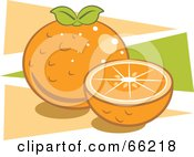 Royalty Free RF Clipart Illustration Of Oranges Over Orange And Green Triangles by Prawny