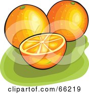 Royalty Free RF Clipart Illustration Of Whole And Halved Oranges On Green by Prawny