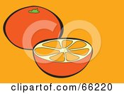 Royalty Free RF Clipart Illustration Of A Halved Orange Over Orange by Prawny