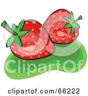 Royalty Free RF Clipart Illustration Of Two Shiny Strawberries On Green