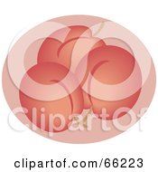 Royalty Free RF Clipart Illustration Of Three Plums Over Pink