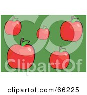 Royalty Free RF Clipart Illustration Of Red Apples With Leaves On Green