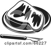 Royalty Free RF Clipart Illustration Of A Toasted Bread Slice With A Knife