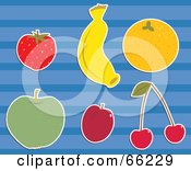 Royalty Free RF Clipart Illustration Of A Digital Collage Of Fruits Strawberry Banana Orange Apple Plum And Cherries by Prawny