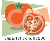 Royalty Free RF Clipart Illustration Of Tomatoes On Green And Pink Triangles