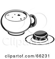 Royalty Free RF Clipart Illustration Of A Black And White Bowl Of Soup With A Roll
