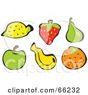 Royalty Free RF Clipart Illustration Of A Digital Collage Of Fruits Lemon Strawberry Pear Apple Banana And Orange by Prawny