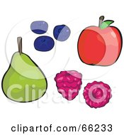 Royalty Free RF Clipart Illustration Of A Digital Collage Of Fruits Pear Blueberries Raspberries And Apple