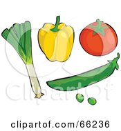 Royalty Free RF Clipart Illustration Of A Digital Collage Of Veggies Leek Yellow Bell Pepper Tomato And Peas