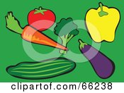 Royalty Free RF Clipart Illustration Of A Digital Collage Of Veggies Tomato Carrot Broccoli Bell Pepper Eggplant And Cucumber