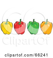 Royalty Free RF Clipart Illustration Of A Row Of Shiny Yellow Red Green And Orange Bell Peppers
