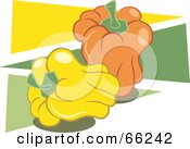 Royalty Free RF Clipart Illustration Of Yellow And Orange Bell Peppers Over Green And Yellow Triangles