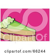 Royalty Free RF Clipart Illustration Of A Slice Of Cake With Green Frosting