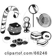 Royalty Free RF Clipart Illustration Of A Digital Collage Of Black And White Cookies And Candy