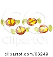 Royalty Free RF Clipart Illustration Of Four Banana Split Toffee Candies